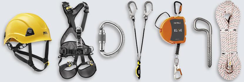EPI, sécurité individuelle, casque harnais mousqueton, corde, cordage, longes, antichute